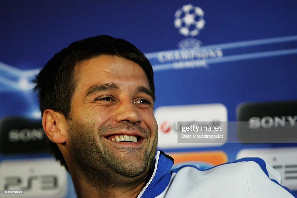 <a gi-track='captionPersonalityLinkClicked' href=/galleries/search?phrase=Cristian+Chivu&family=editorial&specificpeople=675968 ng-click='$event.stopPropagation()'>Cristian Chivu</a> speaks to the media during the Inter Milan Press Conference ahead of their UEFA Champions League Group A match against Tottenham Hotspur at White Hart Lane on November 1, 2010 in London, England.