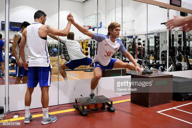 Cristian Cuevas and Marcos Alonso of Chelsea during a gym session at the Singapore American School on July 27 2017 in Singapore