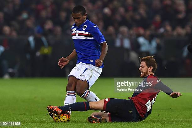 Cristian Daniel Ansaldi of Genoa CFC tackles Lucas Martins Fernando of UC Sampdoria during the Serie A match between Genoa CFC and UC Sampdoria at...