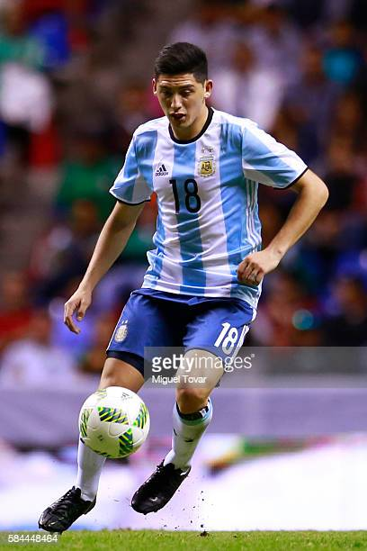 Cristian Espinoza of Argentina controls the ball during an U23 International Friendly between Mexico and Argentina at Cuauhtemoc Stadium on July 28...