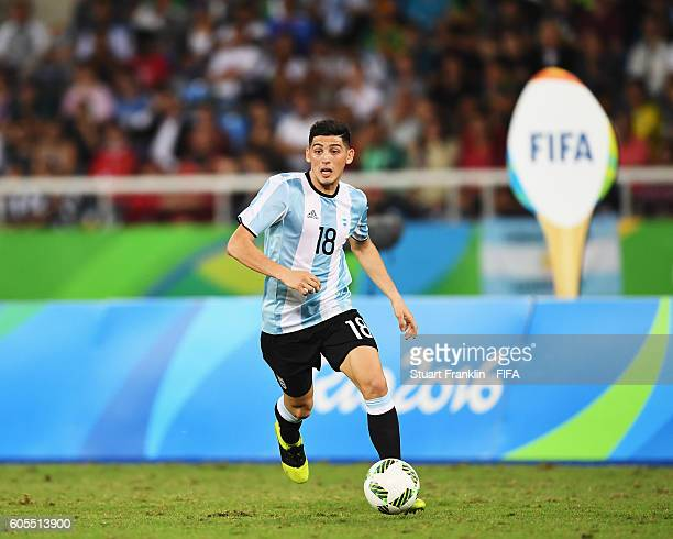 Cristian Espinoza of Argentina in action during the Olympic Men's Football match between Portugal and Argentina at Olympic Stadium on August 4 2016...