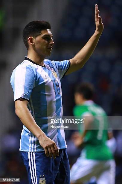 Cristian Espinoza of Argentina reacts during an U23 International Friendly between Mexico and Argentina at Cuauhtemoc Stadium on July 28 2016 in...