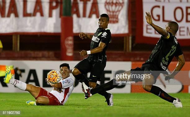 Cristian Espinoza of Huracan kicks the ball during a group stage match between Huracan and Atletico Nacional as part of Copa Bridgestone Libertadores...