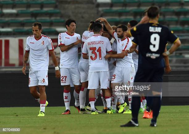 Cristian Galano of AS Bari celebrates after scoring goal 11 during the TIM Cup match between AS Bari and Parma Calcio at Stadio San Nicola on August...