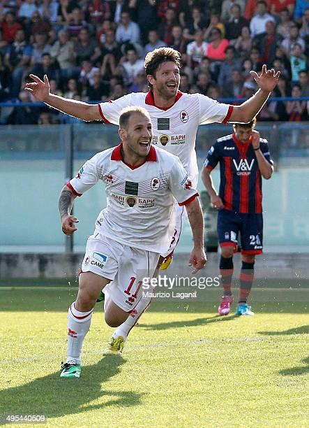Cristian Galano of Bari celebrates after scoring his team's opening goal during the Serie B playoff match between FC Crotone and AS Bari at Stadio...