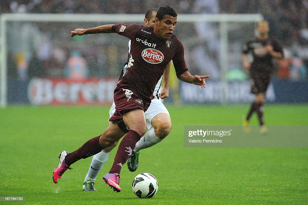 Cristian Jonathas of Torino FC in action during the Serie A match between Torino FC and Juventus at Stadio Olimpico di Torino on April 28, 2013 in Turin, Italy.