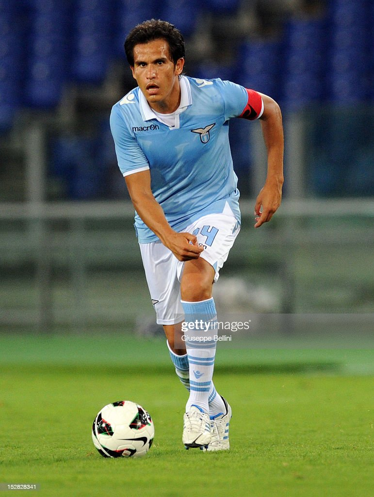 Cristian Ledesma of Lazio in action during the pre-season friendly match between SS Lazio and Getafe CF at Olimpico Stadium on August 11, 2012 in Rome, Italy.
