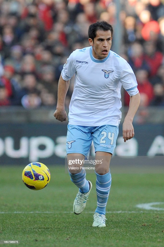 Cristian Ledesma of S.S. Lazio in action during the Serie A match between Genoa CFC and SS Lazio at Stadio Luigi Ferraris on February 3, 2013 in Genoa, Italy.