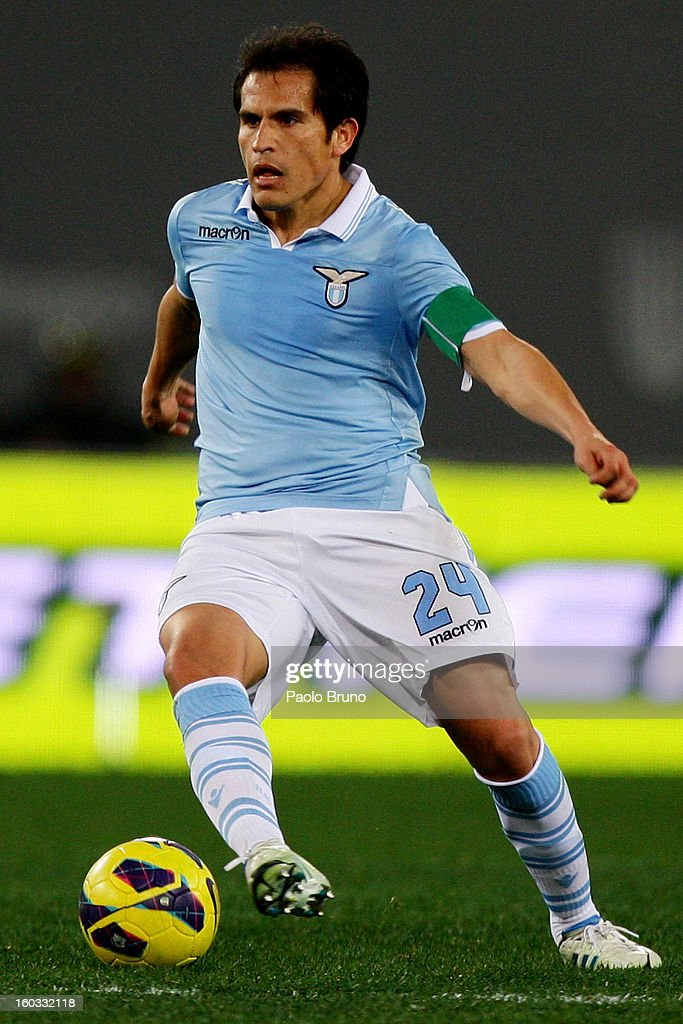 Cristian Ledesma of S.S. Lazio in action during the Serie A match between S.S. Lazio and AC Chievo Verona at Stadio Olimpico on January 26, 2013 in Rome, Italy.