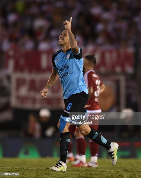 Cristian Lema of Belgrano celebrates after scoring the first goal of his team during a match between River Plate and Belgrano as part of Torneo...