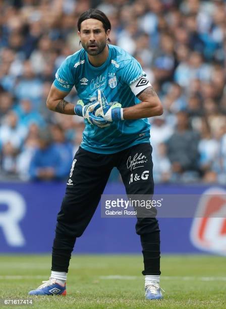 Cristian Lucchetti of Atletico de Tucuman gestures during a match between Racing and Atletico de Tucuman as part of Torneo Primera Division 2016/17...