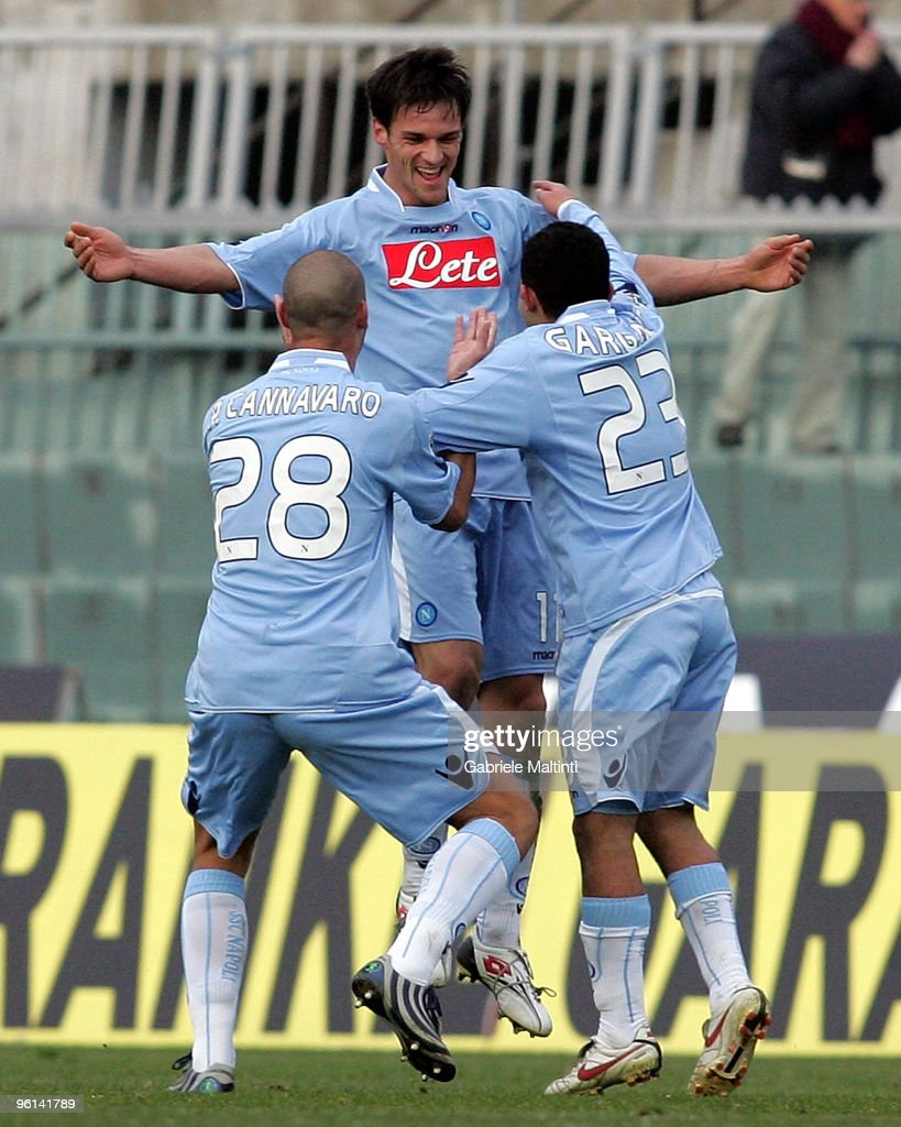 Cristian Maggio, Paolo Cannavaro and Walter Gargano of SSC Napoli celebrates the goal during the Serie A match between Livorno and Napoli at Stadio Armando Picchi on January 24, 2010 in Livorno, Italy.