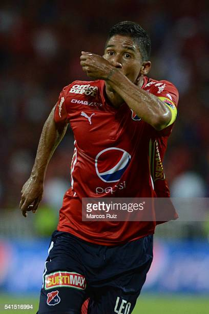 Cristian Marrugo of Medellin celebrates after scoring during a second leg final match between Independiente Medellin and Junior as part of Liga...