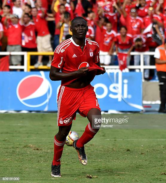 Cristian Martinez Borja of America celebrates after scoring the second goal of his team during a match between America de Cali and Deportes Quindio...