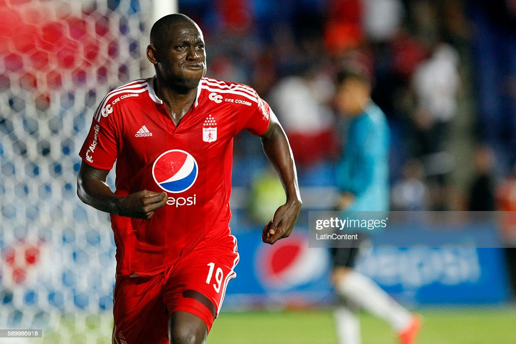 Cristian Martinez Borja of America de Cali celebrates after scoring the fourth goal of his team during a match between America de Cali and Bogota FC...