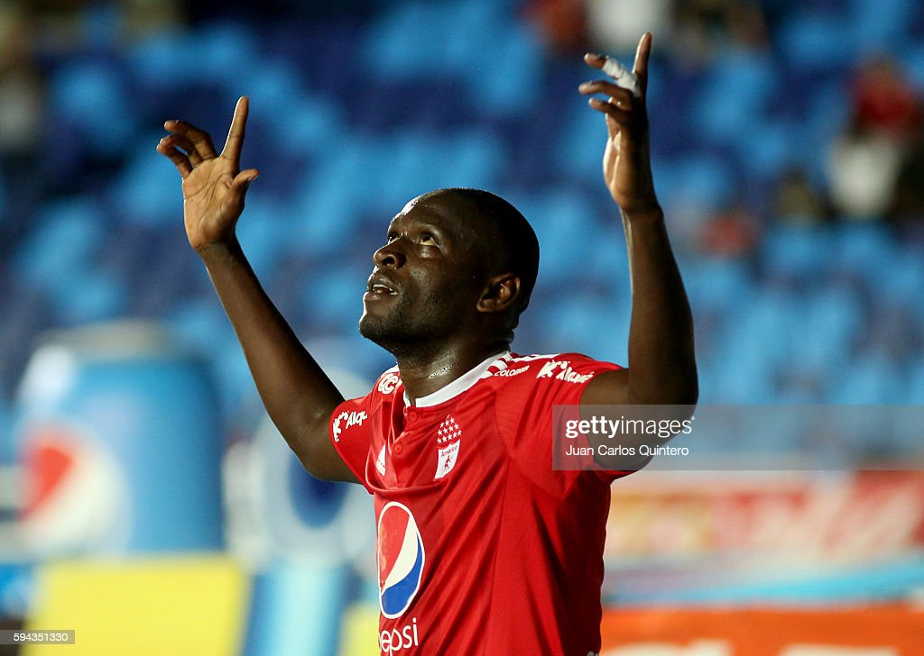 Cristian Martinez Borja of America de Cali celebrates after scoring the fifth goal of his team during a match between America de Cali and Atletico FC...