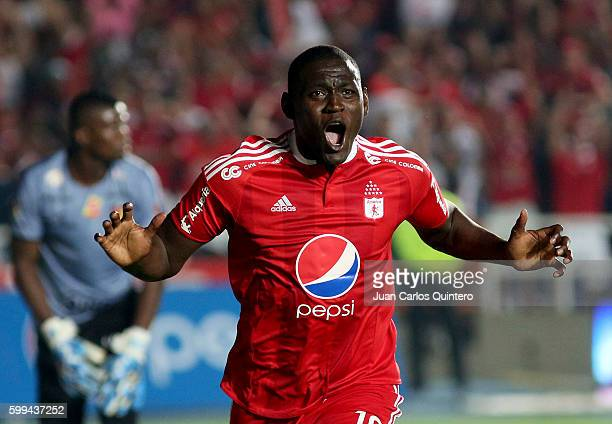 Cristian Martinez Borja of America de Cali celebrates after scoring the first goal of his team during a match between America de Cali and Pereira as...