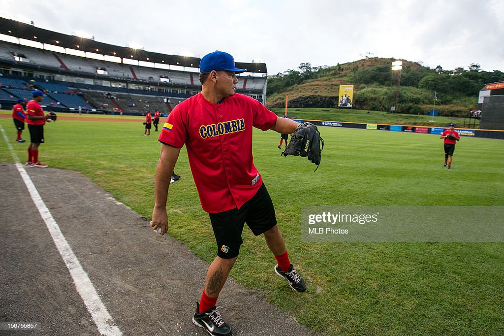 Cristian Mendoza #32 of Team Colombia loosens up on the field before Game 5 of the Qualifying Round of the World Baseball Classic against Team Panama at Rod Carew National Stadium on Sunday, November 18, 2012 in Panama City, Panama.