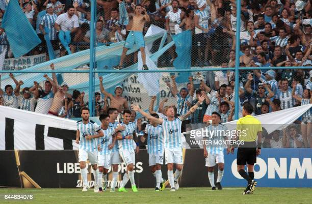 Cristian Menendez of Argentina's Atletico Tucuman celebrates his team's first goal against Colombia's Junior during their Copa Libertadores football...
