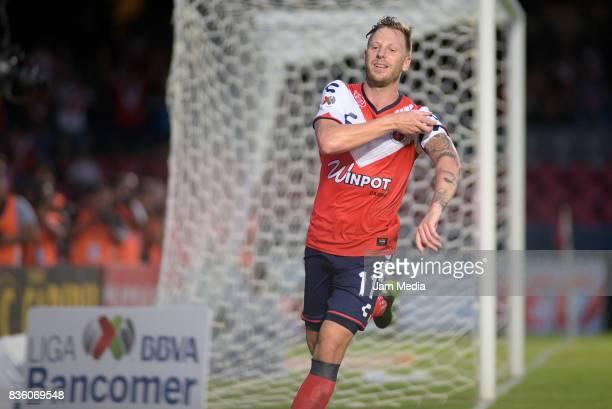 Cristian Menendez of Veracruz celebrates after scoring the first goal of his team during the fifth round match between Veracruz and Queretaro as part...