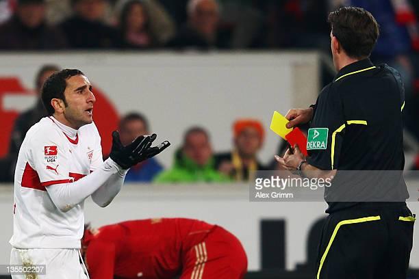 Cristian Molinari of Stuttgart is sent off by referee Manuel Graefe during the Bundesliga match between VfB Stuttgart and FC Bayern Muenchen at...