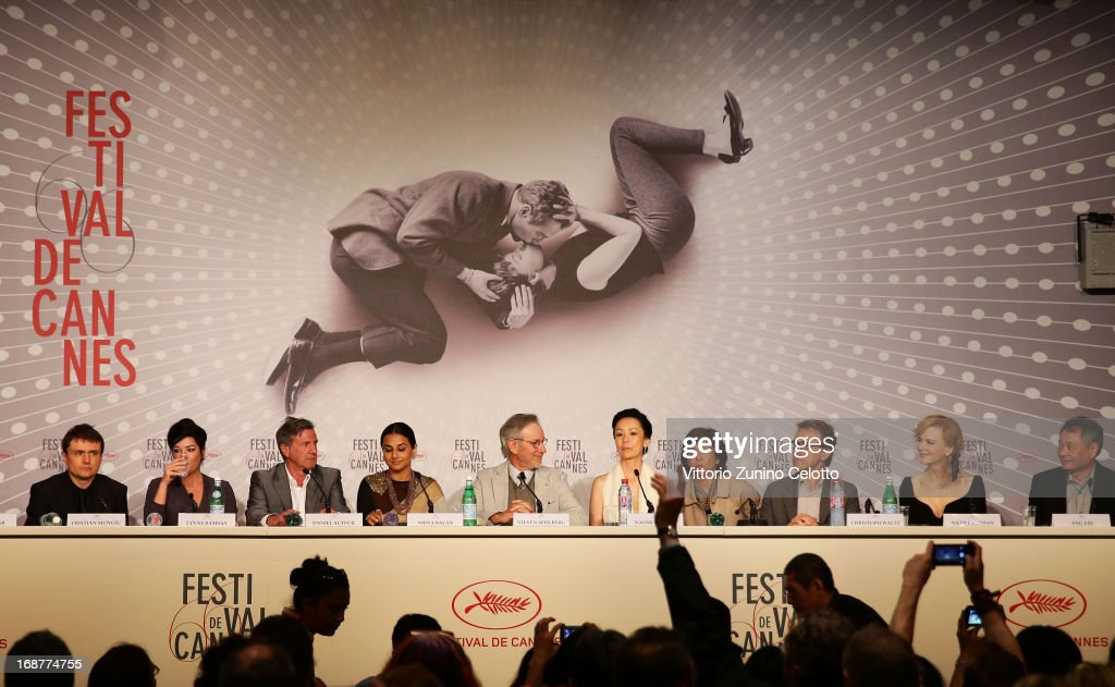Cristian Mungiu, Lynne Ramsay, Daniel Auteuil, Vidya Balan, Steven Spielberg, Naomi Kawase, Christoph Waltz, Niciole Kidman and Ang Lee attend the Jury Press Conference during the 66th Annual Cannes Film Festival at the Palais des Festivals on May 15, 2013 in Cannes, France.
