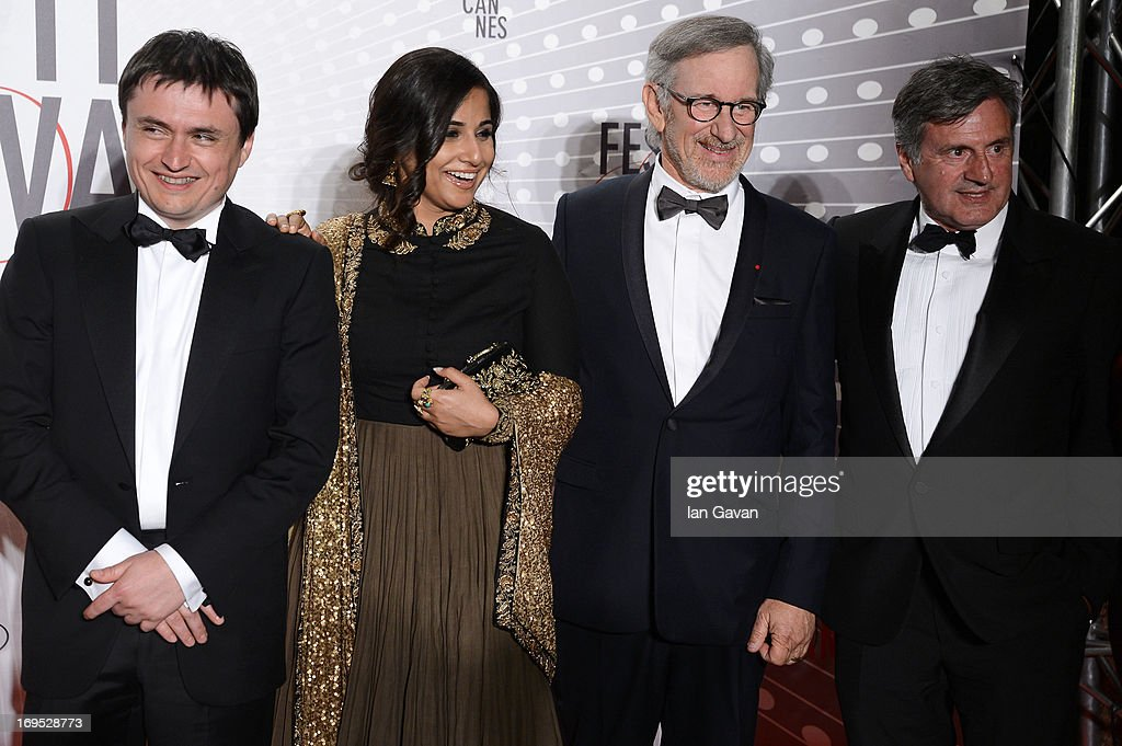 Cristian Mungiu, Vidya Balan, Steven Spielberg and Daniel Auteui attend the Palme D'Or Winners dinner during The 66th Annual Cannes Film Festival at Agora on May 26, 2013 in Cannes, France.