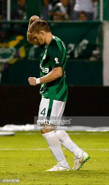 Cristian Nasuti of Deportivo Cali celebrates after scoring the third goal in the penalties series during a second leg match between Deportivo Cali...