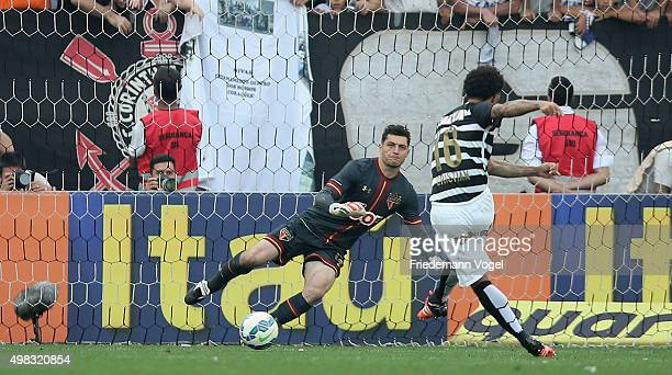 Cristian of Corinthians scoring the sixt goal during the match between Corinthians and Sao Paulo for the Brazilian Series A 2015 at Arena Corinthians...