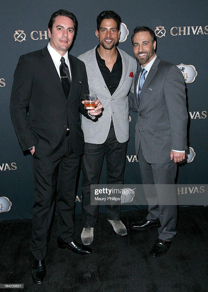 Cristian Olave, Adam Rodriguez and Rich Varga attend LA's Chivas Regal 1801 Club LA launch party on March 20, 2013 in Los Angeles, California.
