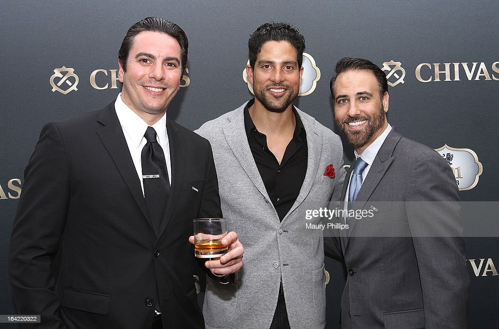 Cristian Olave, <a gi-track='captionPersonalityLinkClicked' href=/galleries/search?phrase=Adam+Rodriguez&family=editorial&specificpeople=212837 ng-click='$event.stopPropagation()'>Adam Rodriguez</a> and Rich Varga attend LA's Chivas Regal 1801 Club LA launch party on March 20, 2013 in Los Angeles, California.