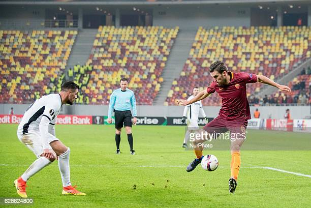 Cristian Oros of FC Astra Giurgiu and Kevin Strootman of AS Roma during the UEFA Europa League 20162017 Group E game between FC Astra Giurgiu and AS...