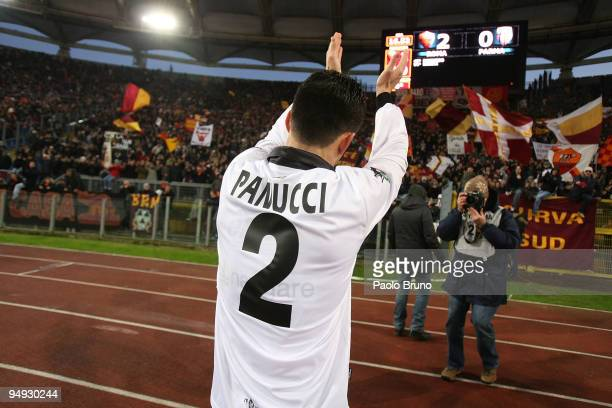 Cristian Panucci of Parma FC claps the supporters after the Serie A match between Roma and Parma at Stadio Olimpico on December 20 2009 in Rome Italy