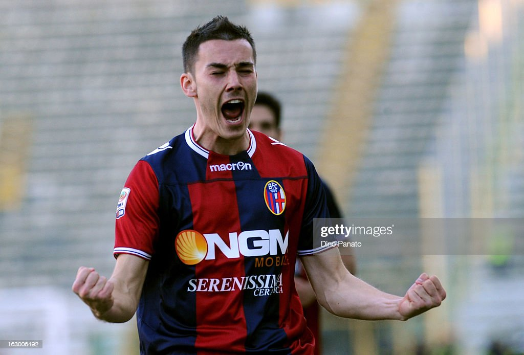 Cristian Pasquato of Bologna FC celebrate after scoring is team's third goal during the Serie A match between Bologna FC and Cagliari Calcio at Stadio Renato Dall'Ara on March 3, 2013 in Bologna, Italy.