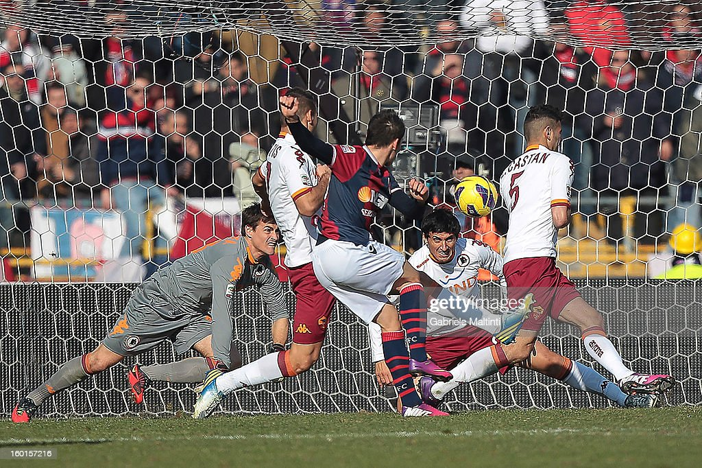 Cristian Pasquato of Bologna FC (C) scores his team's third goal during the Serie A match between Bologna FC and AS Roma at Stadio Renato Dall'Ara on January 27, 2013 in Bologna, Italy.