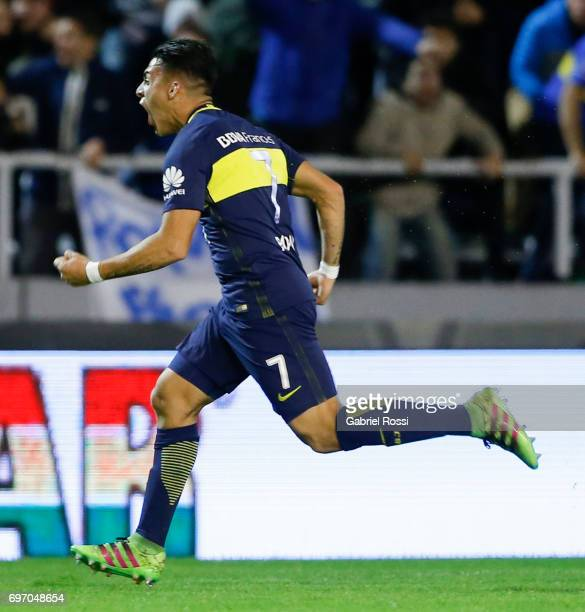 Cristian Pavon of Boca Juniors celebrates after scoring the first goal of his team during a match between Aldosivi and Boca Juniors as part of Torneo...