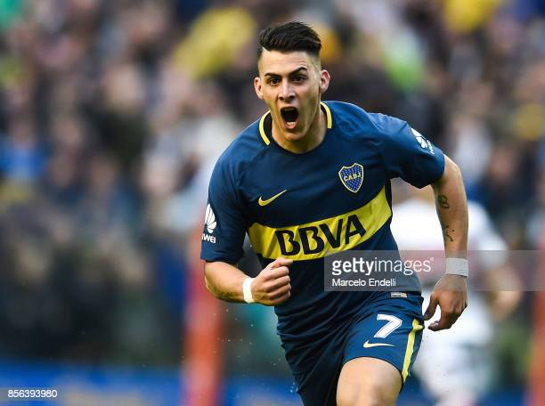 Cristian Pavon of Boca Juniors celebrates after scoring the first goal of his team during a match between Boca Juniors and Chacarita as part of...