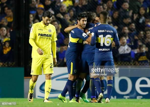 Cristian Pavon of Boca Juniors celebrates after scoring the opening goal during the international friendly match between Boca Juniors and Villarreal...