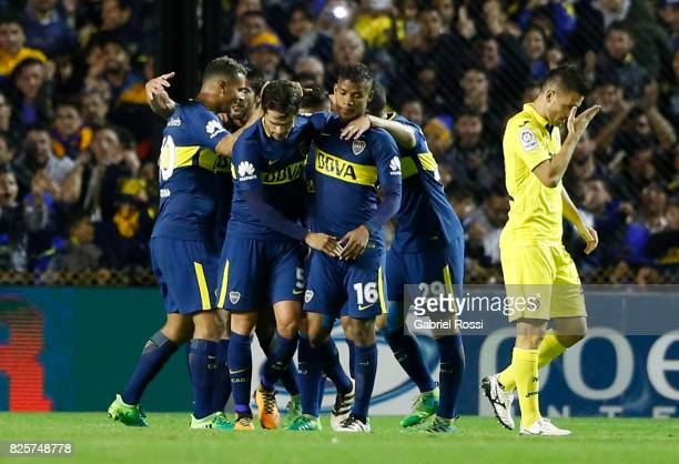 Cristian Pavon of Boca Juniors celebrates after scoring the opening goal during the international friendly match between Boca Juniors and Villarreal...