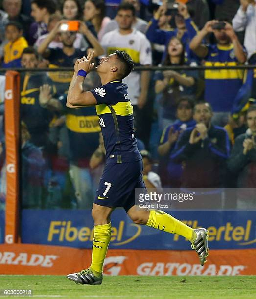 Cristian Pavon of Boca Juniors celebrates after scoring the second goal of his team during a match between Boca Juniors and Belgrano as part of...