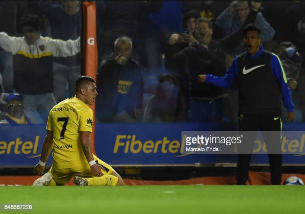 Cristian Pavon of Boca Juniors celebrates after scoring the third goal of his team during a match between Boca Juniors and Godoy Cruz as part of...