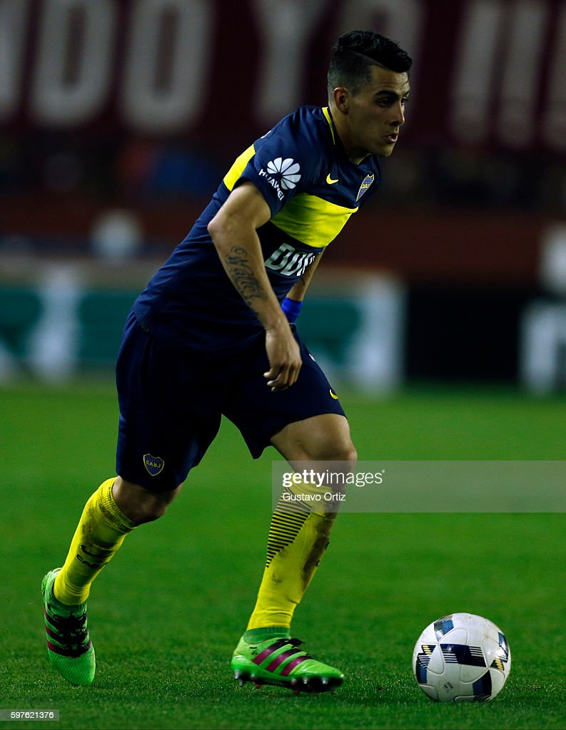 Cristian Pavon of Boca Juniors drives the ball during a match between Lanus and Boca Juniors as part of first round of Campeonato de Primera Division...