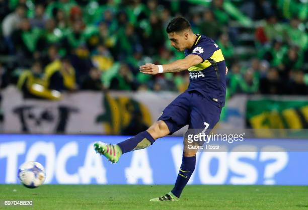Cristian Pavon of Boca Juniors kicks the ball to score the first goal of his team during a match between Aldosivi and Boca Juniors as part of Torneo...