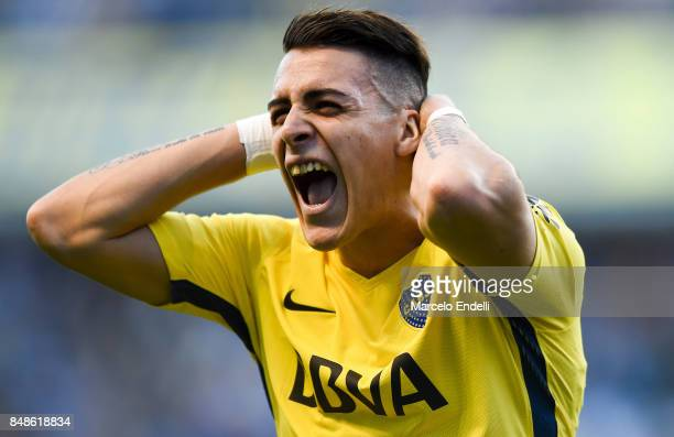 Cristian Pavon of Boca Juniors reacts during a match between Boca Juniors and Godoy Cruz as part of Superliga 2017/18 at Alberto J Armando Stadium on...