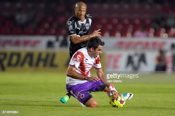Cristian Pellerano of Veracruz falls down during the 16th round match between Veracruz and Monterrey as part of the Torneo Clausura 2017 Liga MX at...