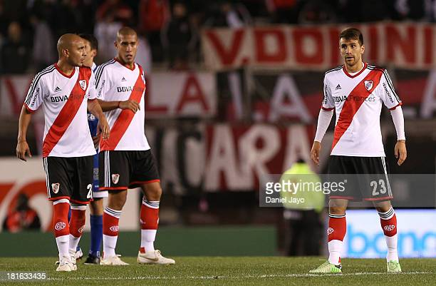 Cristian Raul Ledesma Jonatan Maidana and Leonardo Ponzio of River Plate during a match between River Plate and All Boys as part of the Torneo...