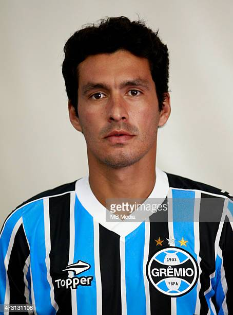 Cristian Riveros of Gremio FootBall Porto Alegrense poses during a portrait session on August 14 2014 in Porto AlegreBrazil