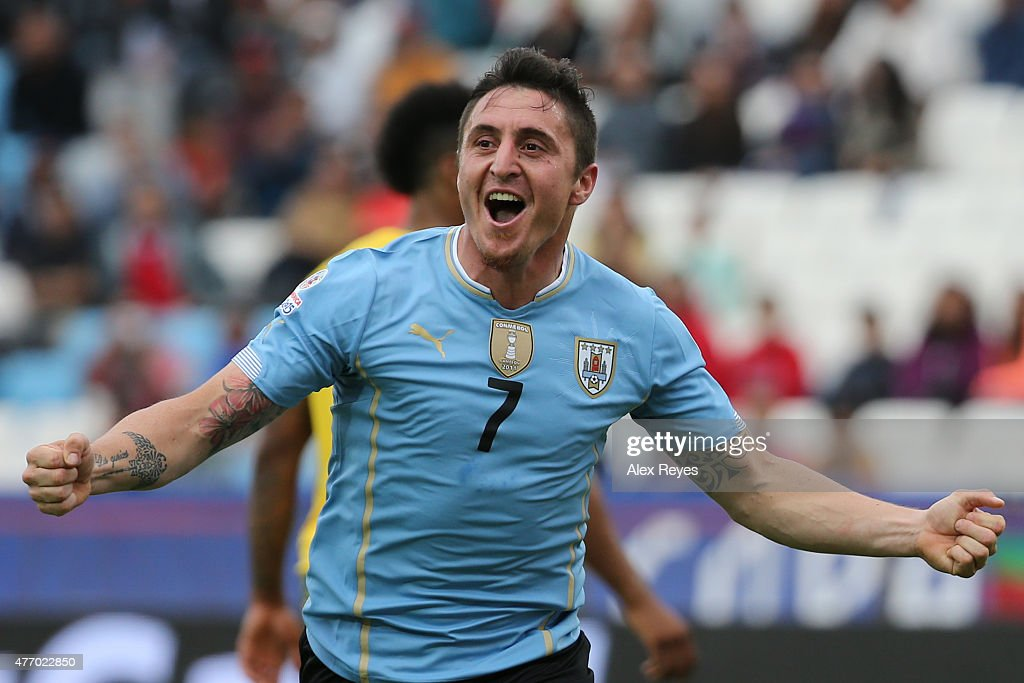 Cristian Rodriguez of Uruguay celebrates after scoring the opening goal during the 2015 Copa America Chile Group B match between Uruguay and Jamaica at Regional Calvo y Bascuñan Stadium on June 13, 2015 in Antofagasta, Chile.