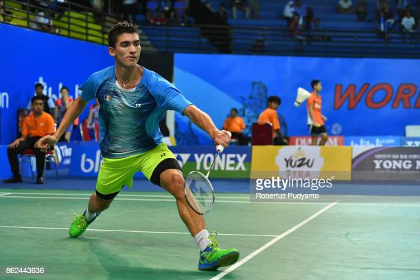 Cristian Savin of Moldova competes against Andrews Ebenezer of Ghana during Men Single qualification round of the BWF World Junior Badminton...