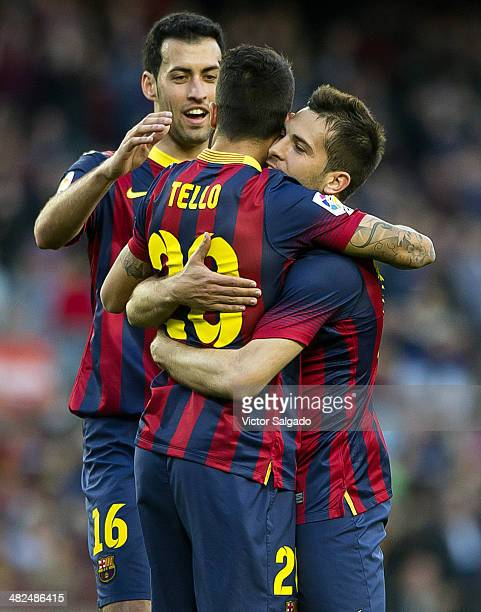 Cristian Tello celebrates the fifth goal with Jordi Alba Sergio Busquets and Marc Bartra from FC Barcelona during La Liga match 28 between FC...